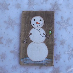 Primitive Folk Art Snowman with Headphones Original Winter Painting