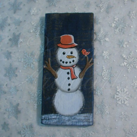 Primitive Folk Art Snowman With Orange Bird Original Winter Painting