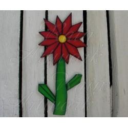 Primitive Folk Art Deco Red Daisy Flower Plywood Cutout Salvaged Wood