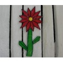 Primitive Folk Art Deco Red Daisy Flower Plywood Cutout Salvaged Wood