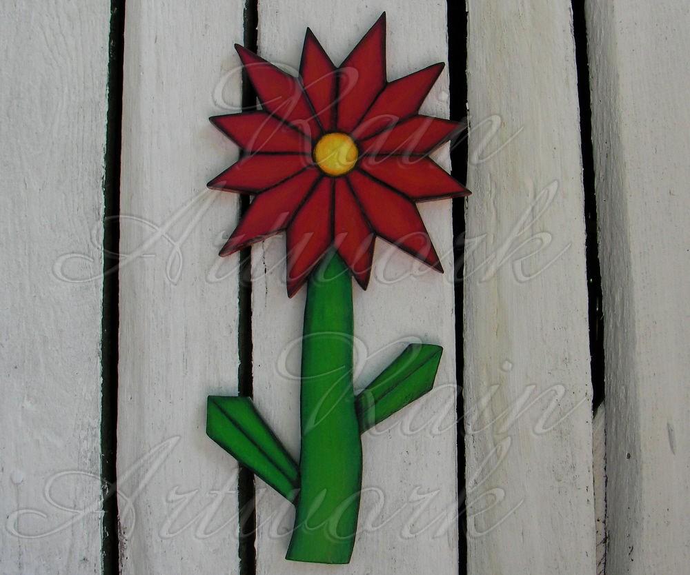 Primitive folk art deco red daisy flower plywood cutout art deco decor izmirmasajfo