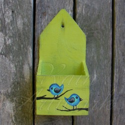 Primitive Urban Wall Box Folk Art Birds Shabby Lime Green Paint