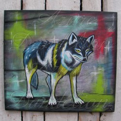 Primitive Native American Folk Art Wolf Painting Southwest Decor