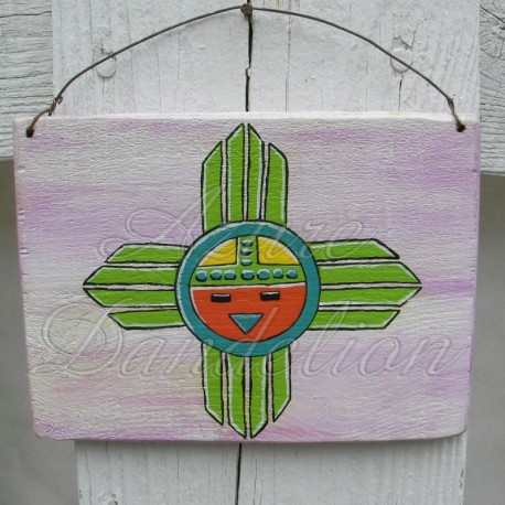 Primitive Native American Folk Art Sunface Original Painting