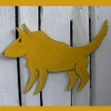 Original Folk Art Bright Yellow Native American Dog Cutout