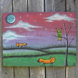 Original Primitive Native American Folk Art Wolves & Owl Painting