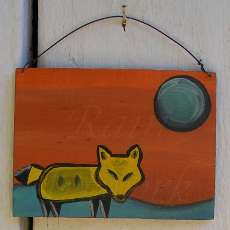 Primitive Folk Art Native American Yellow Wolf Moon Southwest Painting