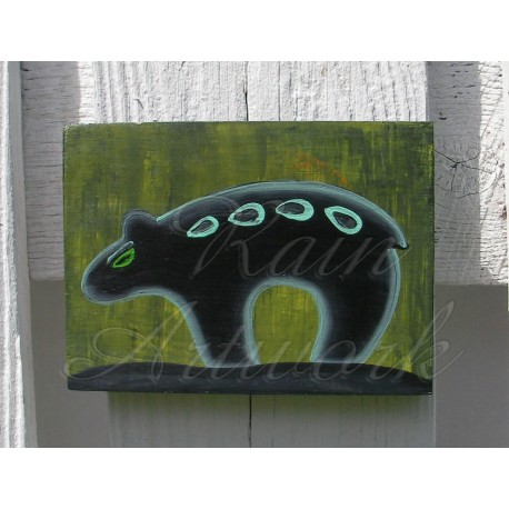 Primitive Folk Art Native American Black Bear Southwest Painting