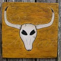 Southwestern Primitive Folk Art Long Horn Cow Skull Painting