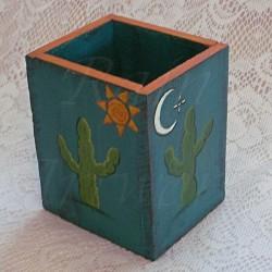 Southwest Cactus Primitive Folk Art Pencil Holder Box Original Decor