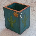 Southwest Cactus Primitive Folk Art Pencil Holder Box Original Decor
