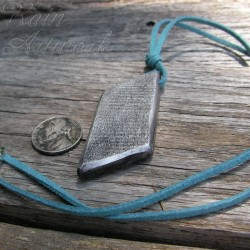 Original Geometric Silver Parallelogram Pendant Necklace Blue Cord