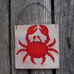 Original Red Crab Primitive Folk Art Painting Nautical Art Beach Decor