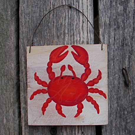 Original Red Crab Primitive Folk Art Painting Nautical Art Beach Decor