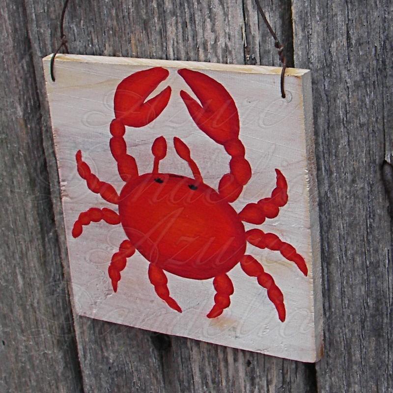 original red crab primitive folk art painting nautical art