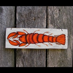 Original Primitive Folk Art Lobster Painting Sign Beach Cottage Decor