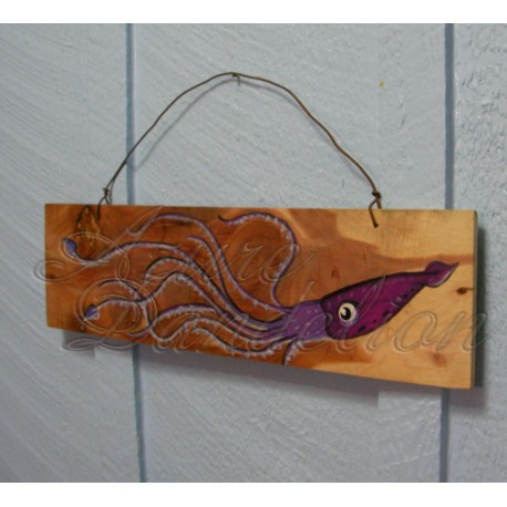 Primitive Funky Folk Art Purple Squid Original Painting On Wood