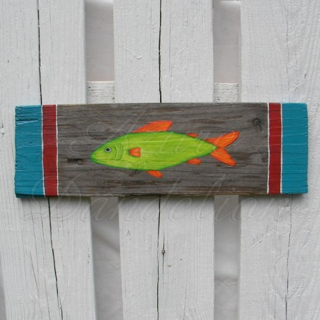 Primitive Funky Folk Art Fish Original Painting Nautical Beach House