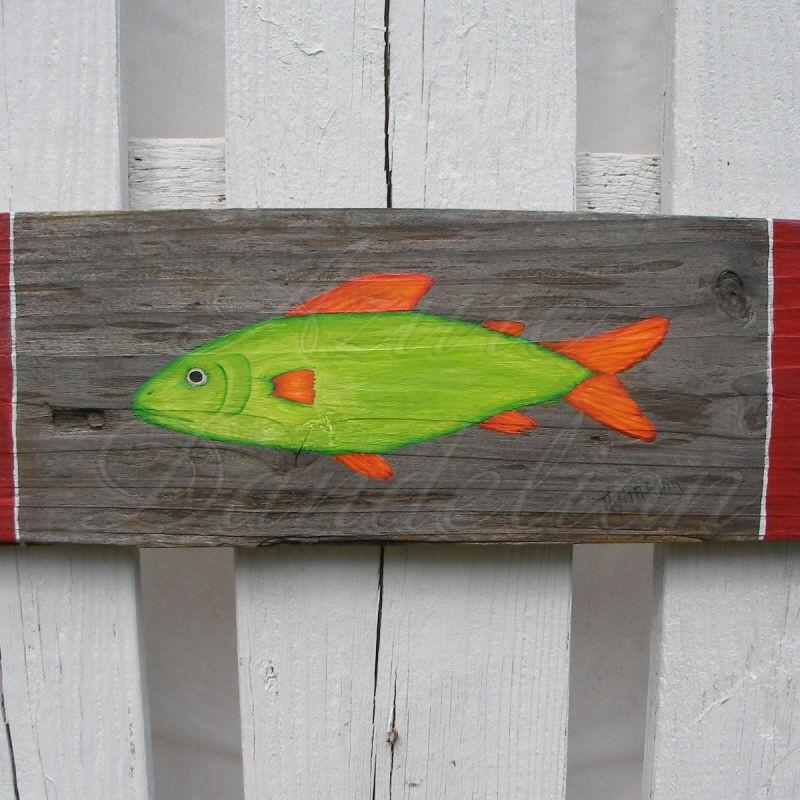 Primitive Funky Folk Art Fish Original Painting Nautical