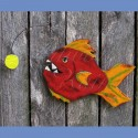 Angler Fish Primitive Folk Art Wood Cutout Nautical Funky Sculpture