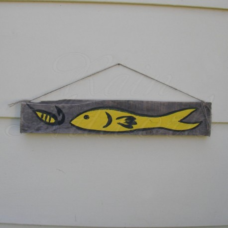 Primitive Beach Yellow Fish With Yellow Lure Funky Folk Art Painting