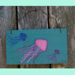 Original Primitive Folk Art Jellyfish Painting on Turquoise Nautical Decor