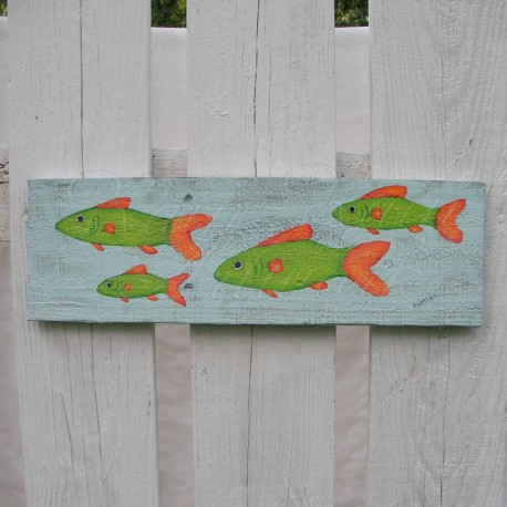 Primitive Beach Cottage Fish School Funky Folk Art Original Painting