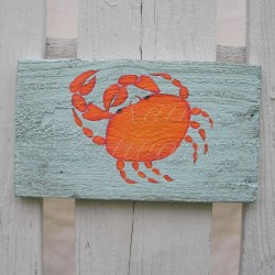 Primitive Funky Folk Art Orange Crab Original Painting Beach House