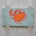 Primitive Funky Folk Art Orange Crab Original Painting Beach House