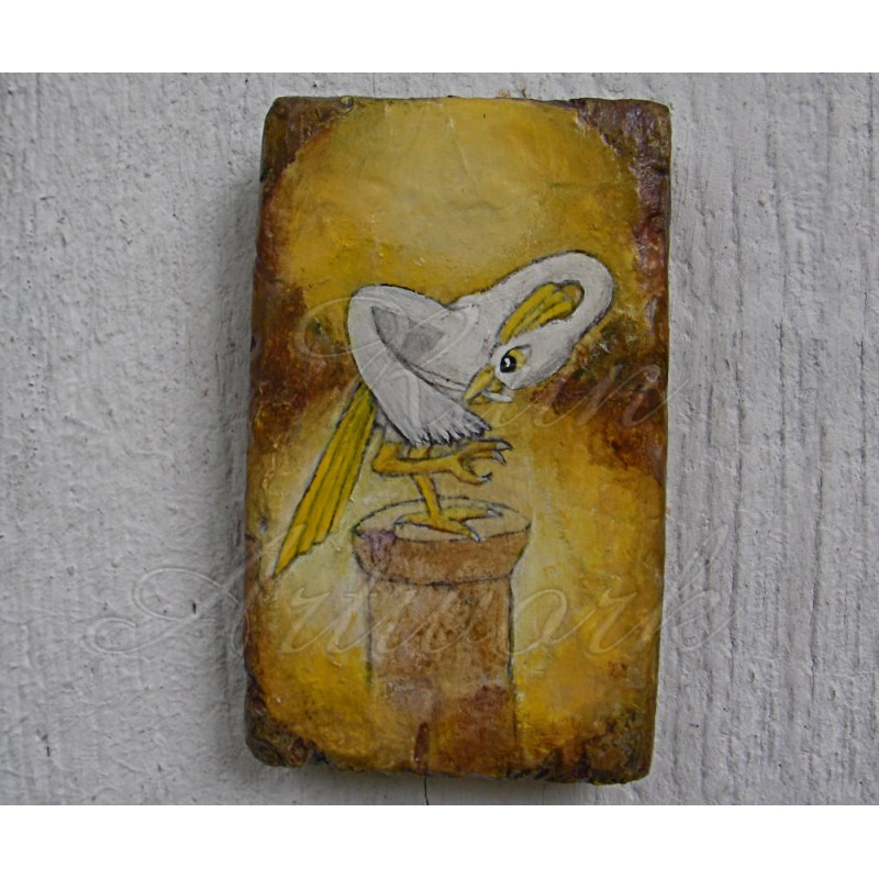 Primitive Fantasy Funky Folk Art Gold Crested Crane