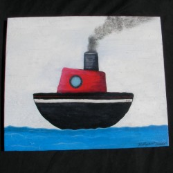Primitive Folk Art TugBoat at Sea Original Painting Nautical Beach Decor