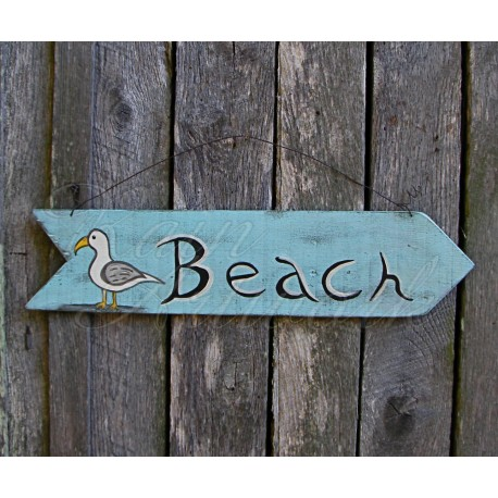 Beach Cottage Sign Primitive Folk Art Original SeaGull Painting