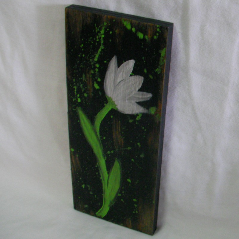 Primitive Original Tulip Flower Painting Funky Folk Art