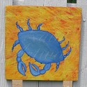 Original Blue Crab Beach House Primitive Folk Art Painting Nautical Decor