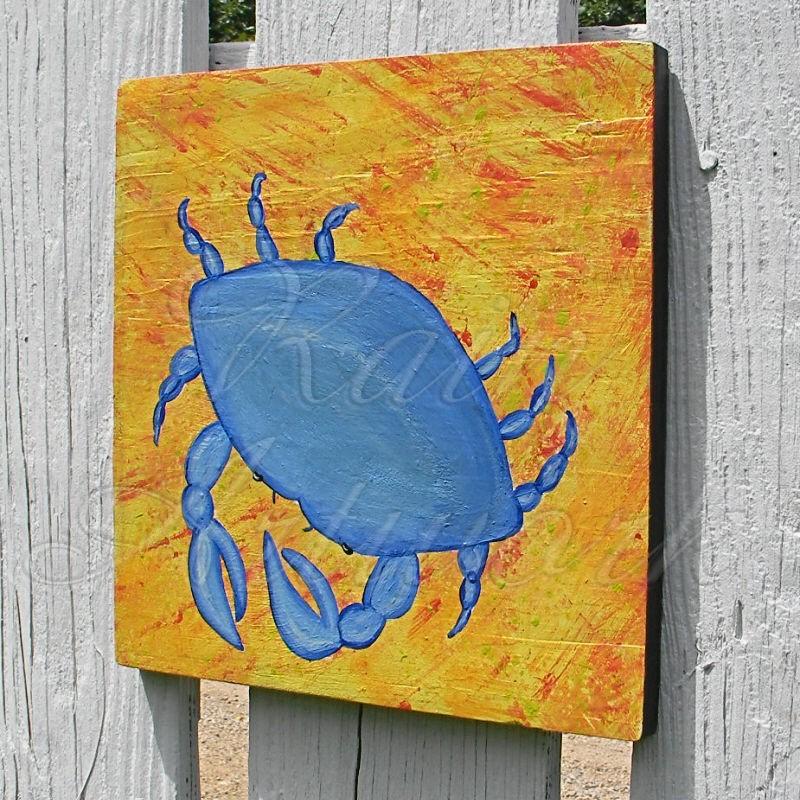 Primitive Folk Art Blue Crab Painting Nautical Beach House