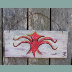 Primitive Abstract Sea Creature Nautical Decor Folk Art Beach Painting