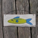 Original Funky Folk Art Lime Green and Blue Fish Nautical Painting