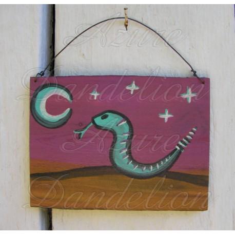 Primitive Folk Art Native American Rattlesnake Southwes Snake Painting