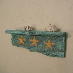 Beach Cottage Shelf with Original Starfish Painting Primitive Folk Art Turquoise