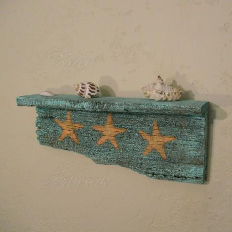 Beach Cottage Shelf with Original Starfish Painting Primitive Folk Art Turquoise