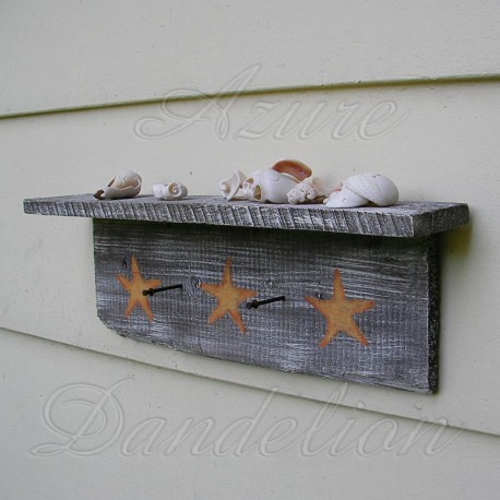 White Beach Cottage Shelf with Original Starfish Coastal Painting