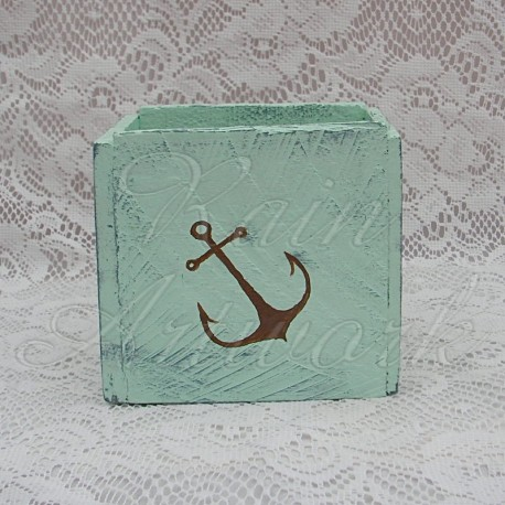 Country Cottage Beach House Primitive Box with Folk Art Anchor