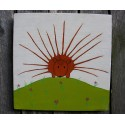 Primitive Funky Porcupine Painting Folk Art on Salvaged Wood