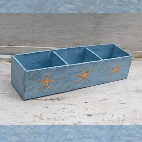 Large Primitive Box Folk Art Shabby Starfish Cottage Chic Beach House