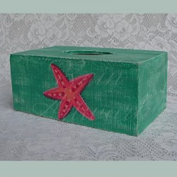 Beach Cottage Tissue Holder Primitive Box Folk Art Shabby Turquoise