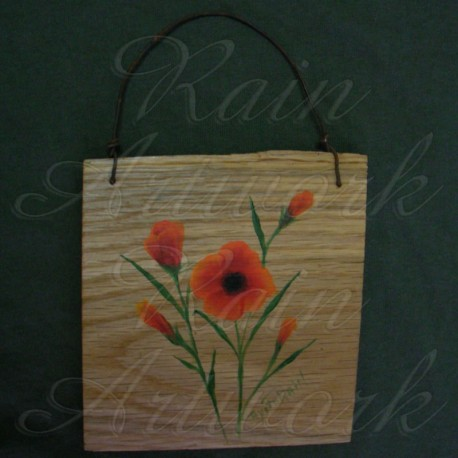 Original Primitive Folk Art Orange Poppies Painting On Natural Wood