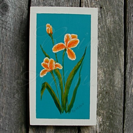 Original Modern Farmhouse Orange Iris Painting Turquoise Background