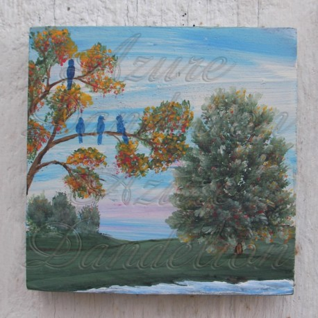 Original Folk Art Landscape with Blue Birds on Branch Painting