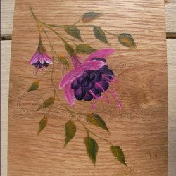 Primitive Folk Art Fuchsias Original Painting on Rustic Wood Woodland