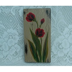 Primitive Folk Art Original Red Tulip Painting Farmhouse Decor